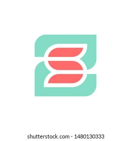 ZS, SZ monogram, colorful letter Z and S with floral aspect logo template .vector