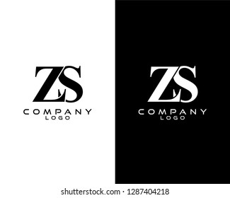 zs/sz company linked letter modern logo black and white color vector for business and company