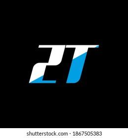 ZT letter logo design on black background. ZT creative initials letter logo concept. ZT icon design. ZT white and blue letter icon design on black background. Z T