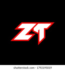 ZT logo design, initial ZT letter design with sci-fi style. ZT logo for game, esport, Technology, Digital, Community or Business. Z T sport modern Italic alphabet font. Typography urban style fonts.