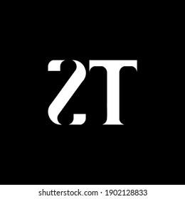 ZT Z T letter logo design. Initial letter ZT uppercase monogram logo white color. ZT logo, Z T design. ZT, Z T