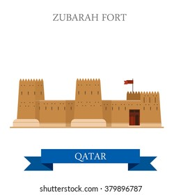 Zubarah Fort in Qatar. Flat cartoon style historic sight showplace attraction web site vector illustration. World countries cities vacation travel sightseeing Asia collection.