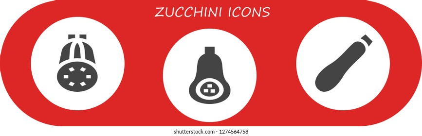 zucchini icon set. 3 filled zucchini icons. Simple modern icons about  - Courgette, Butternut squash
