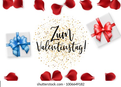 Zum Valentinstag Happy Valentines Day greeting card. Ribbon gift holiday Valentine vector poster. Random falling petals. Red rose petal isolated white isolated background. Wedding illustration.
