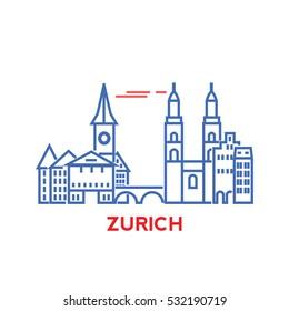 Zurich city architecture retro vector illustration, skyline city silhouette, skyscraper,