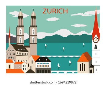 Zurich city Europe. Travel poster. Vector illustration