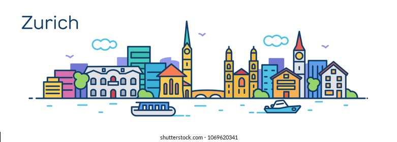 Zurich city. Vector illustration