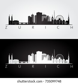 Zurich skyline and landmarks silhouette, black and white design, vector illustration.