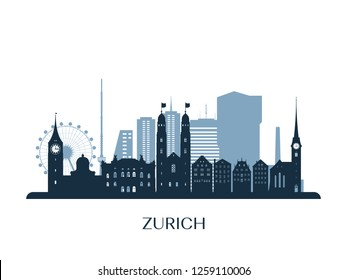 Zurich skyline, monochrome silhouette. Vector illustration.
