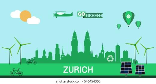 Zurich skyline silhouette flat design vector, green city concept