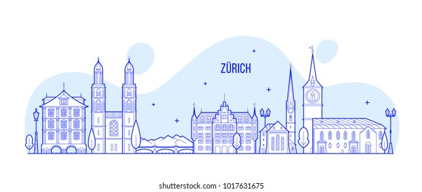 Zurich skyline, Switzerland. This illustration represents the city with its most notable buildings. Vector is fully editable, every object is holistic and movable