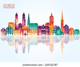 Zurich Switzerland city detailed skyline. Vector illustration