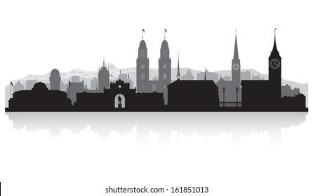 Zurich Switzerland city skyline vector silhouette illustration