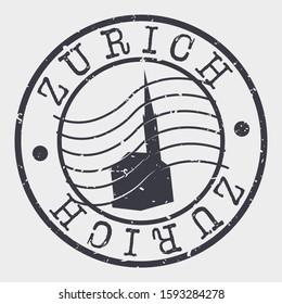 Zurich Switzerland Stamp Postal. Silhouette Seal. Passport Round Design. Vector Icon. Design Retro Travel. National Symbol.