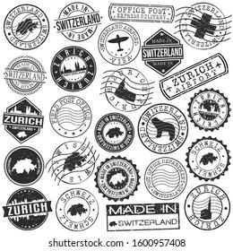 Zurich Switzerland Stamp. Vector Art Postal. Passport Travel Design. Travel and Business Set.