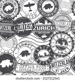 Zurich Switzerland Stamps Background. City Stamp Vector Art. Postal Passport Travel. Design Set Pattern.