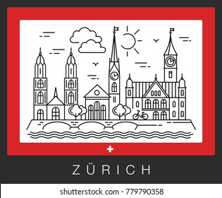 Zurich, Switzerland. View of the city attractions