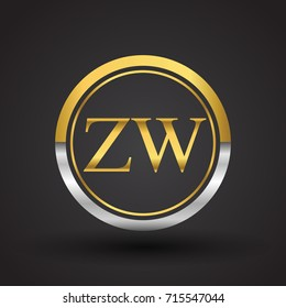 ZW Letter logo in a circle, gold and silver colored. Vector design template elements for your business or company identity.