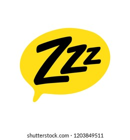 Z-z-z text on text bubble. Printable graphic tee. Design doodle for print. Vector illustration. Colorful tag. Cartoon hand drawn comic style. Icon for sleeping mode