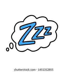 Z-z-z text on text bubble. Printable graphic tee. Design doodle for print. Vector illustration. Colorful tag. Zzz Cartoon hand drawn comic style. blue Icon for sleeping mode