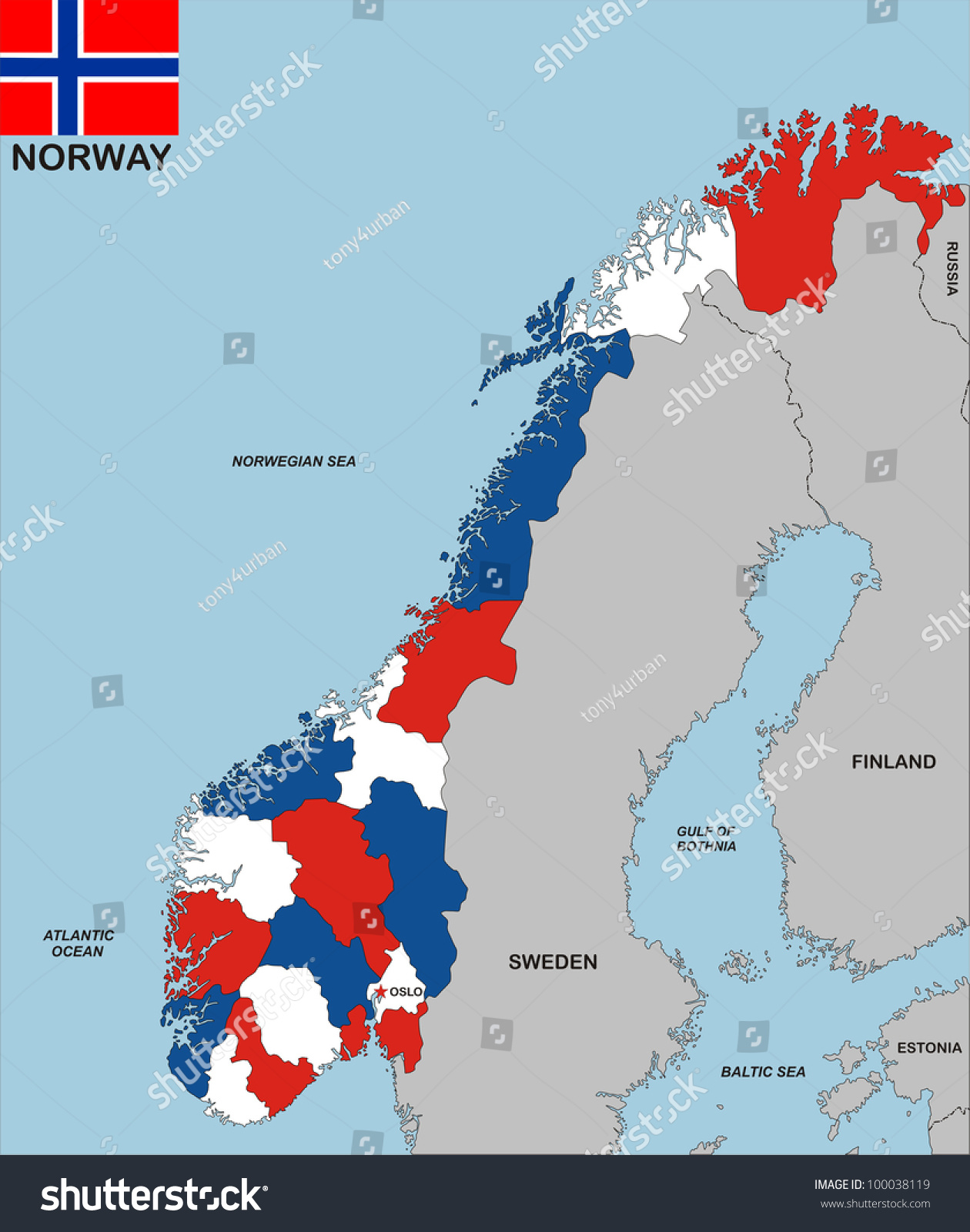 Very Big Size Political Map Norway Stock Illustration - Sweden big map
