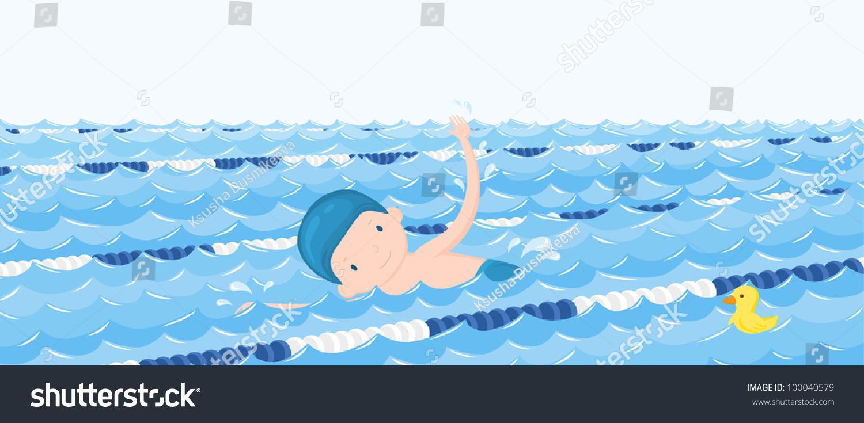Boy Swimming Pool Cartoon Vector Illustration Stock Vector 100040579 Shutterstock