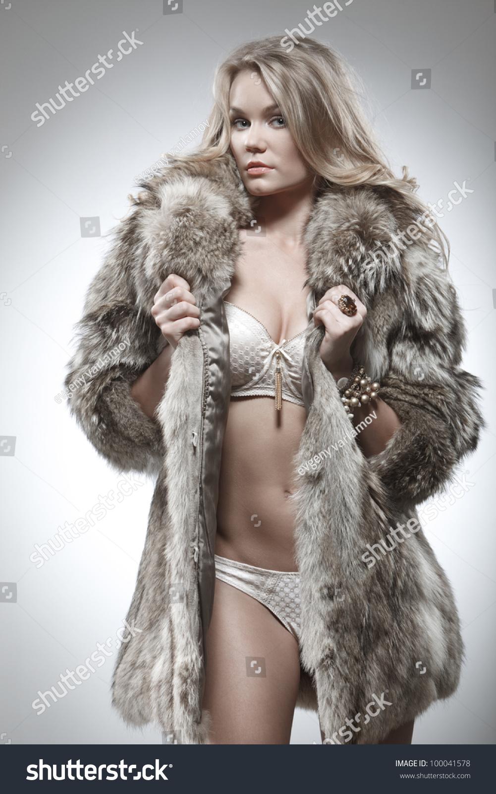 in lingerie on fur