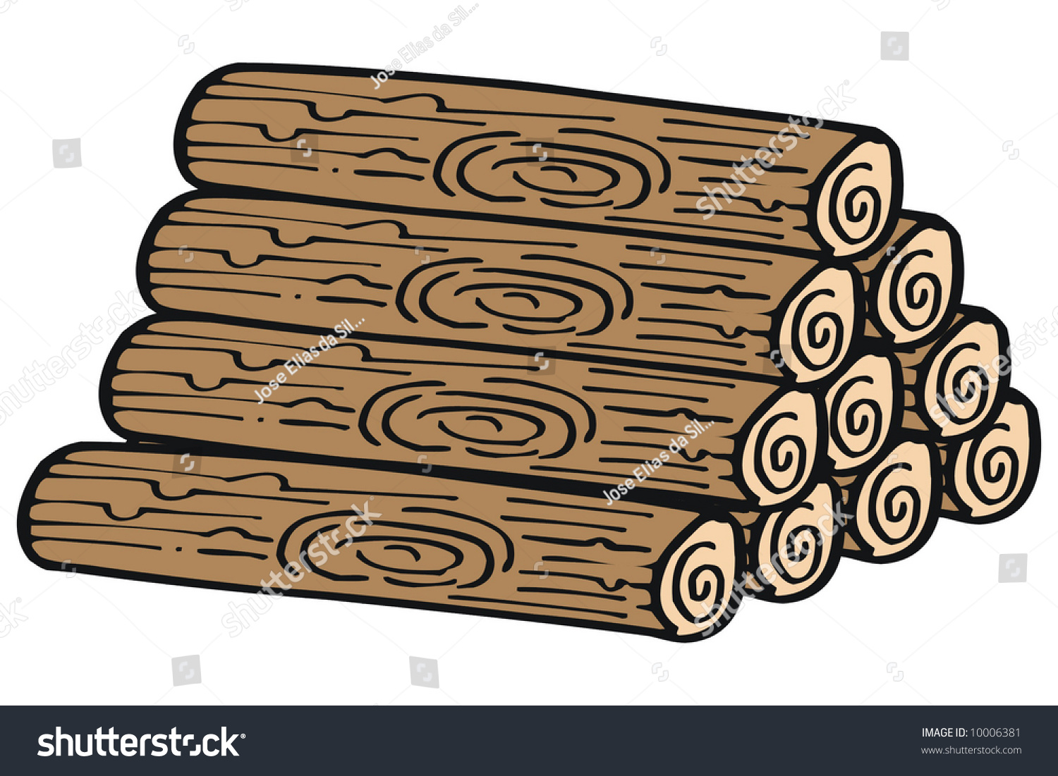 Art illustration of several pieces wood