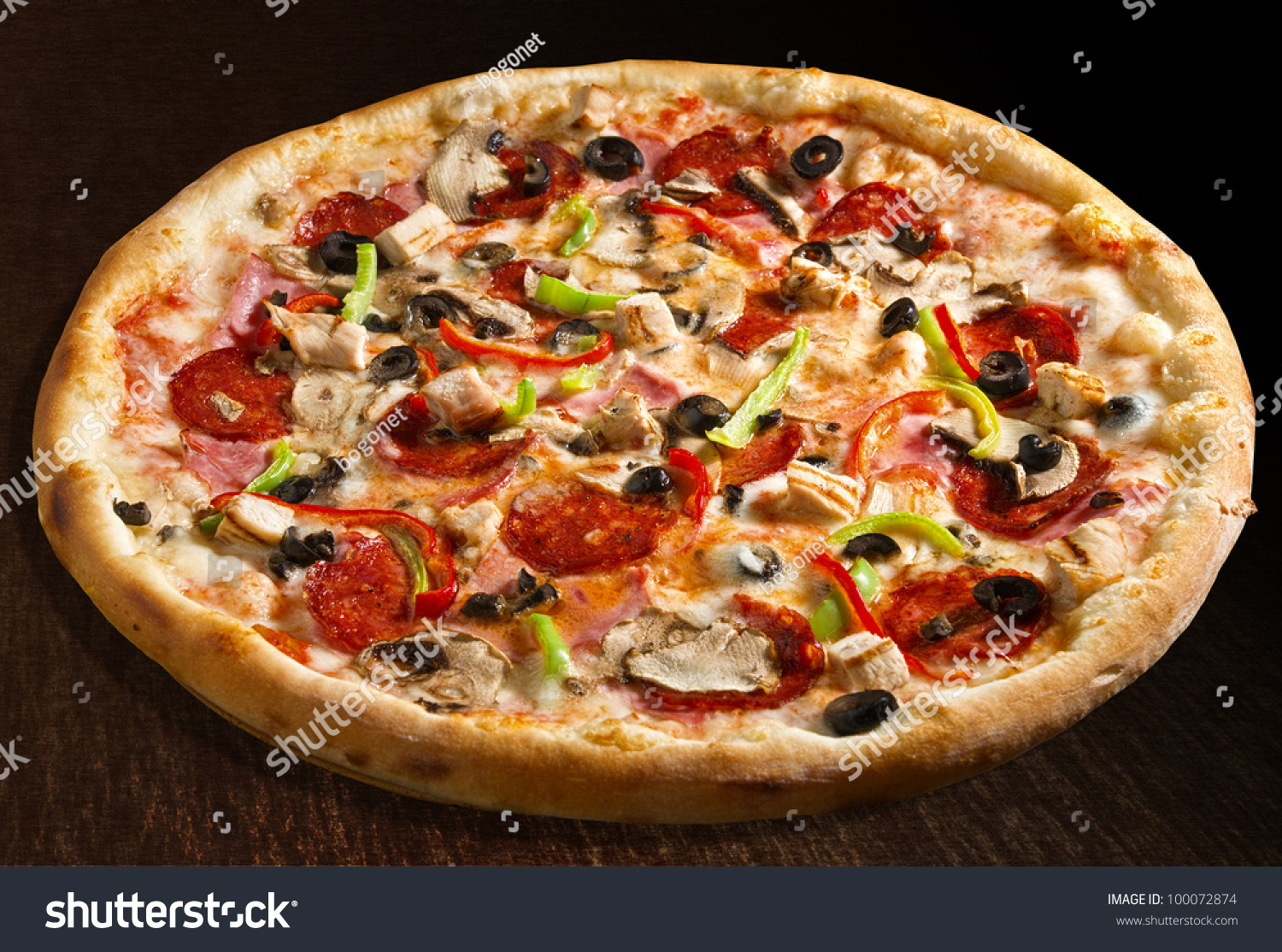 Special Pizza Green Bell Pepper Olives Stock Photo ...