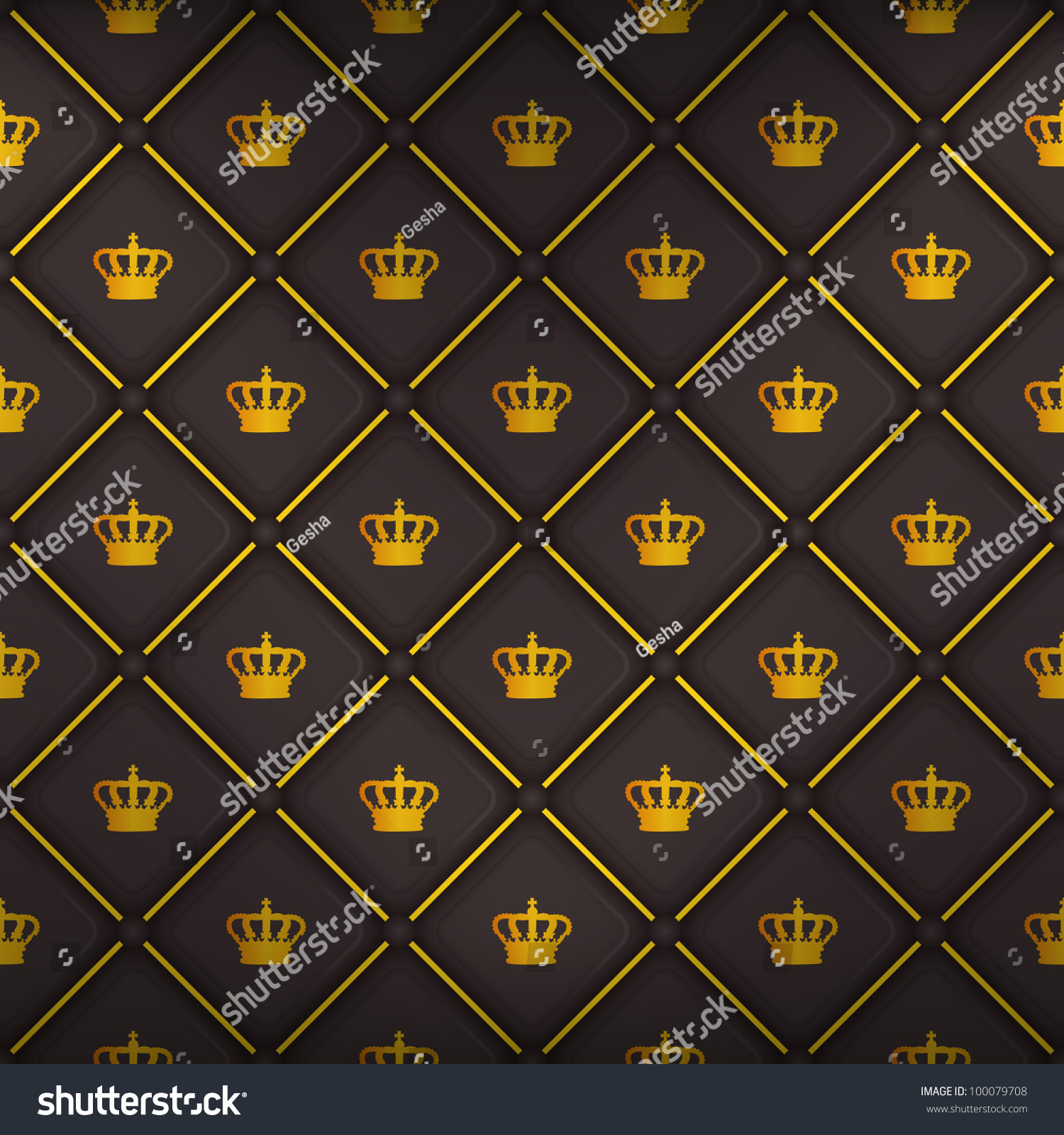 Black Seamless Pattern King Crown Symbol Stock Vector