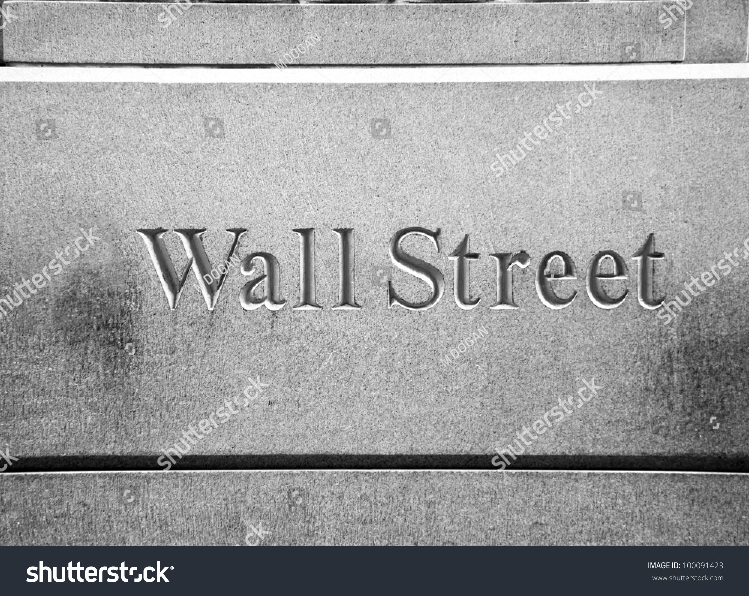 new york city wall street road sign in downtown manhattan with skyscrapers stock photo 100091423. Black Bedroom Furniture Sets. Home Design Ideas