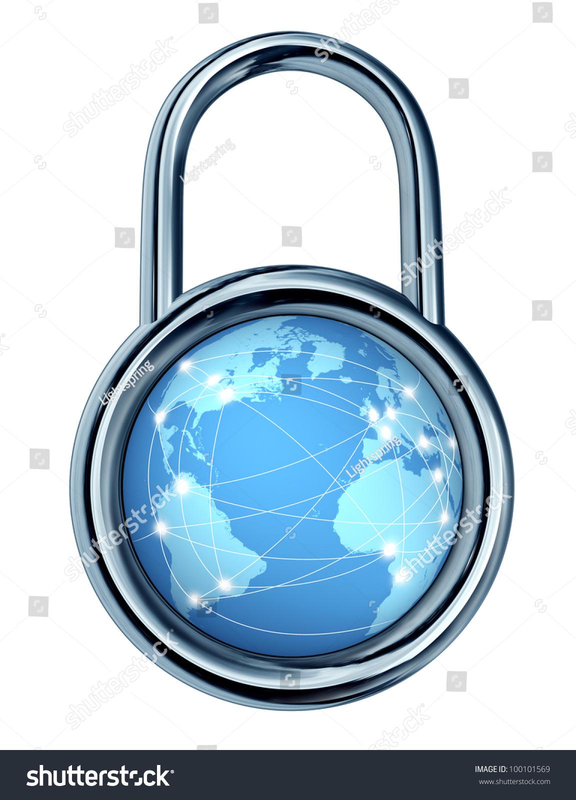 Internet Security Lock Locking Symbol Shape Stock Illustration