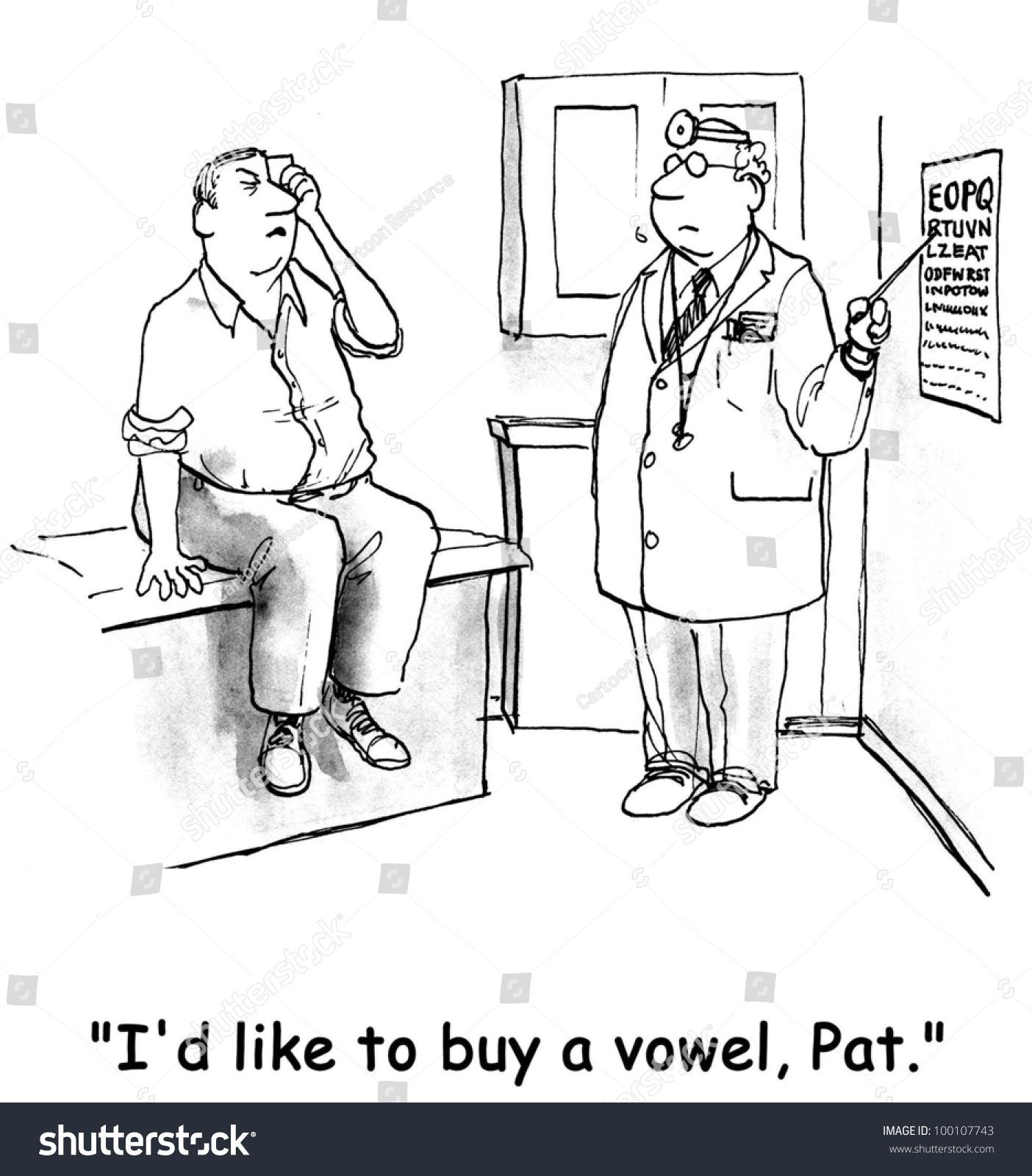 Man Having Trouble Seeing Optometrists Eye Stock Illustration