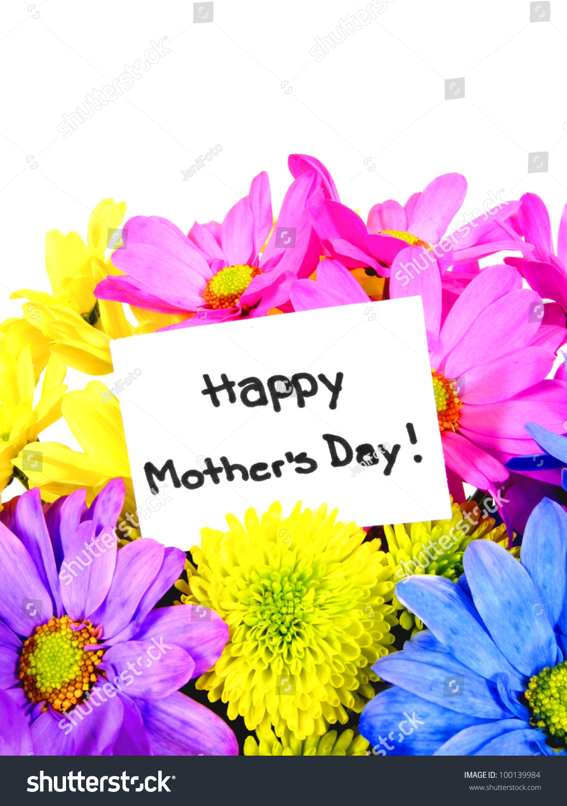 Colorful mothers day flowers gift tag stock photo