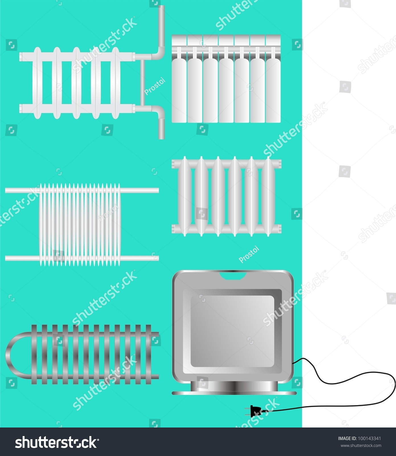 Types Heaters Heating On Green Background Stock Vector 100143341 ...