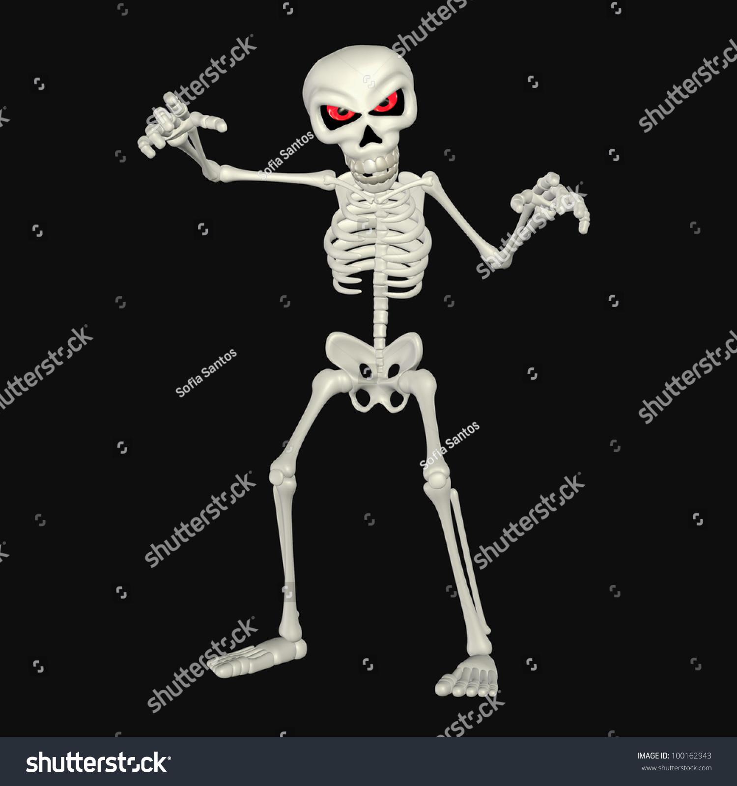 Illustration Scary Skeleton Cartoon Isolated On Stock Illustration ...