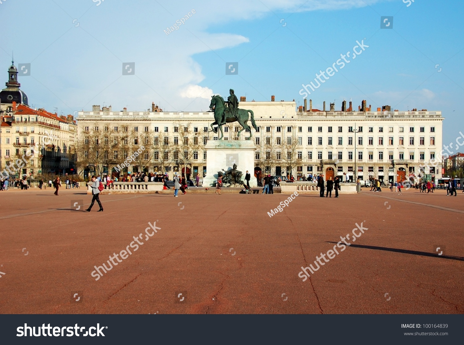 The Bellecour square in Lyon. Statue of Louis XIV. France This is the central square of city of Lyon