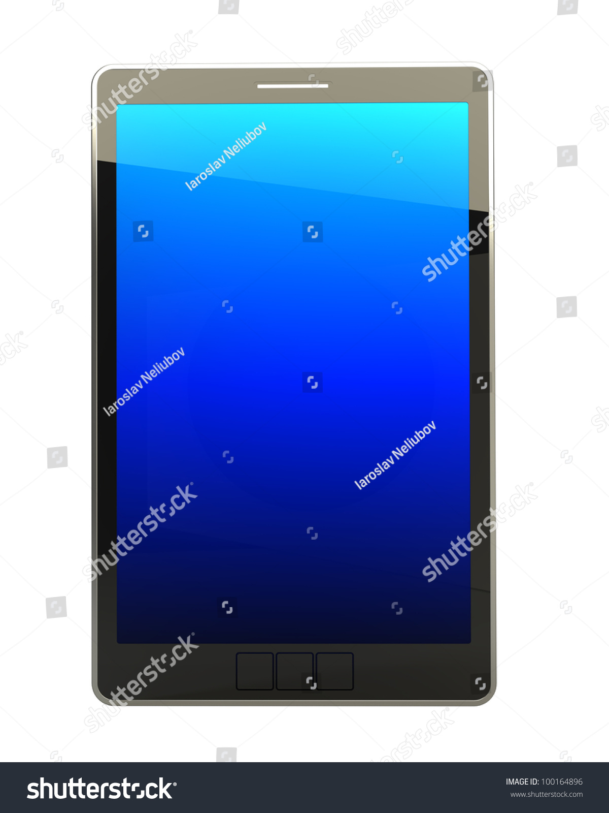 3d computer  digital tablet pc  isolated on white