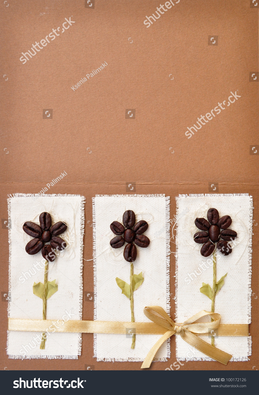 Handmade Paper Book Cover : Handmade paper card with coffee beans flower design and a