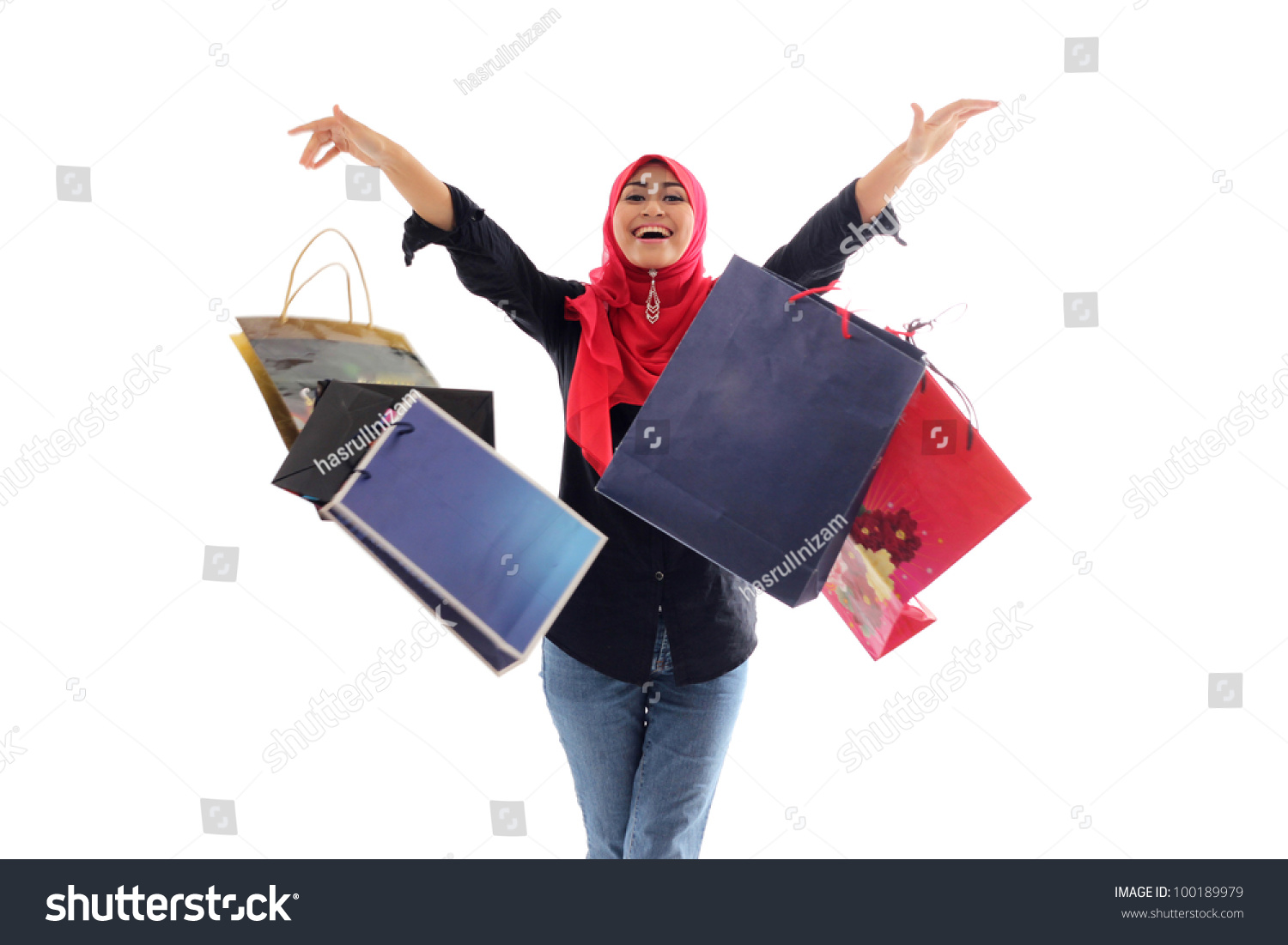 Woman posing with shopping bags isolated on white background full - Beautiful Muslim Woman Feel Happy Holding Shopping Bag Isolated On White