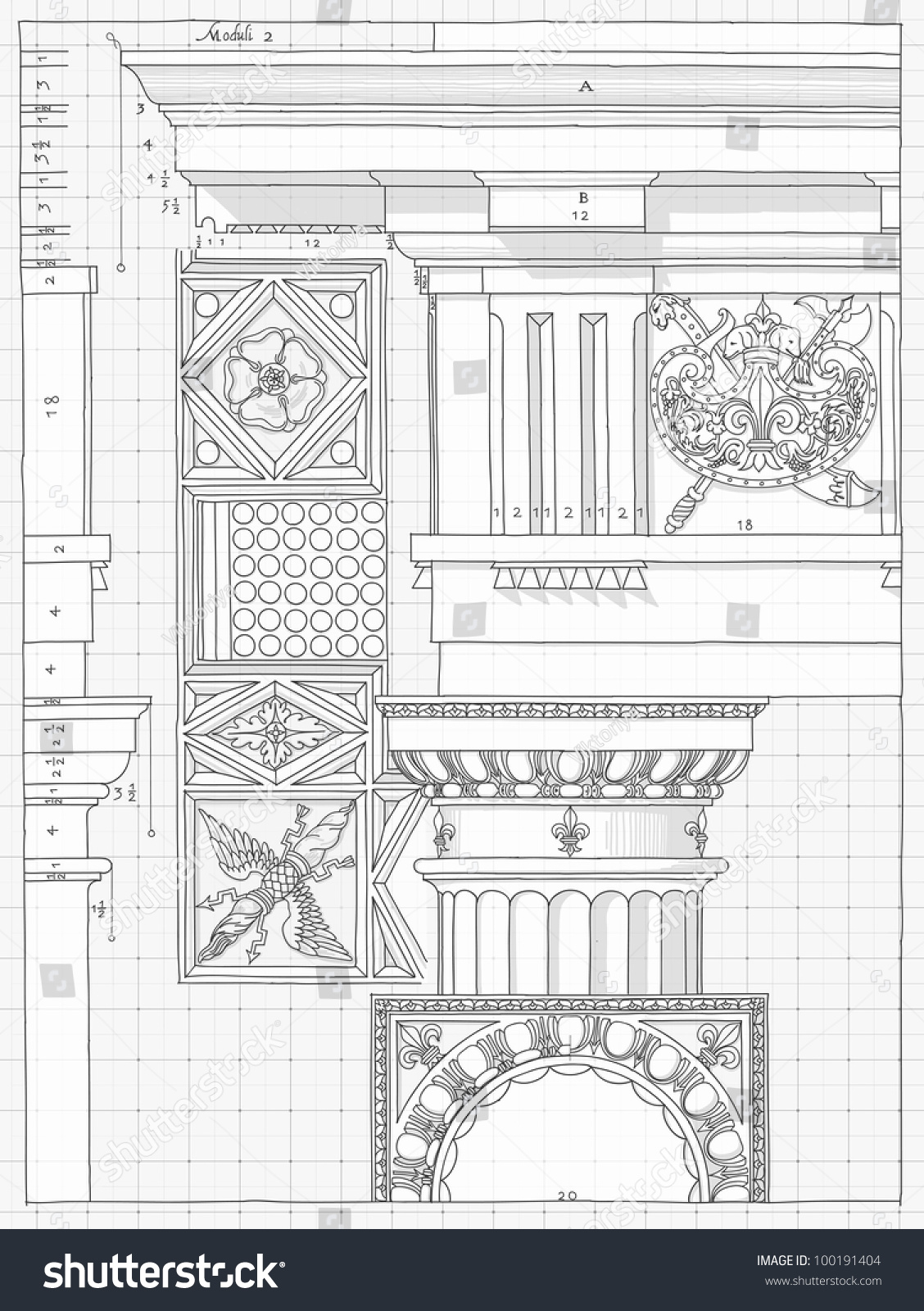 Blueprint hand draw sketch doric architectural vector de blueprint hand draw sketch doric architectural order based the five orders of architecture malvernweather Images