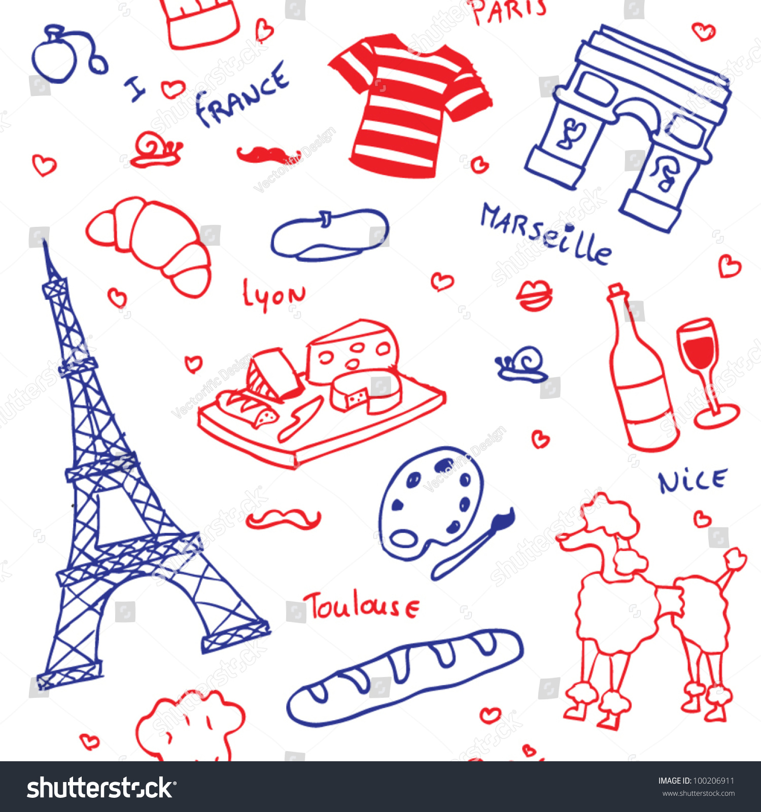 French Symbols Icons Seamless Pattern Stock Vector ...