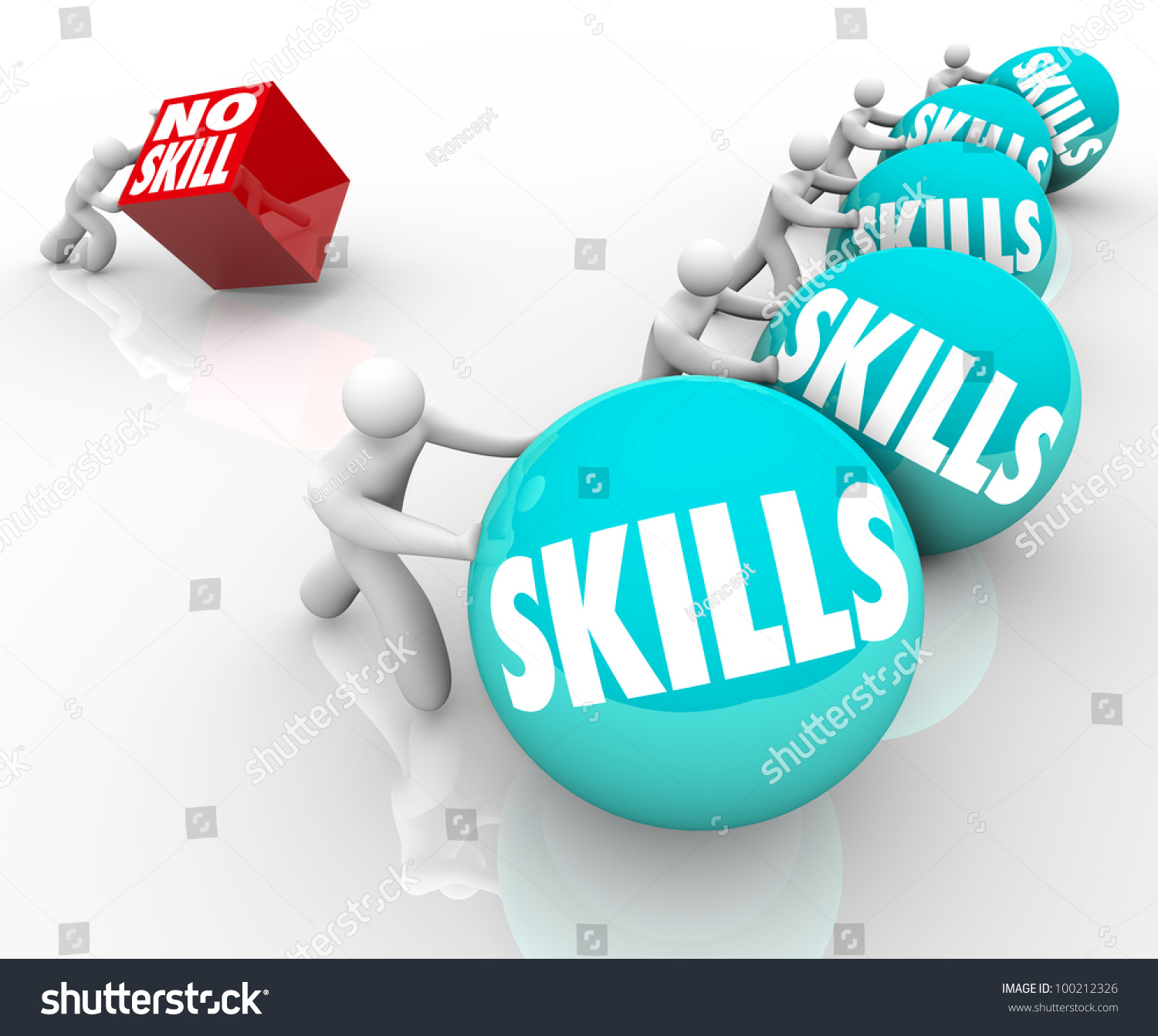 one person no skills pushes metaphorical stock illustration one person no skills pushes a metaphorical cube representing the challenges he faces in life