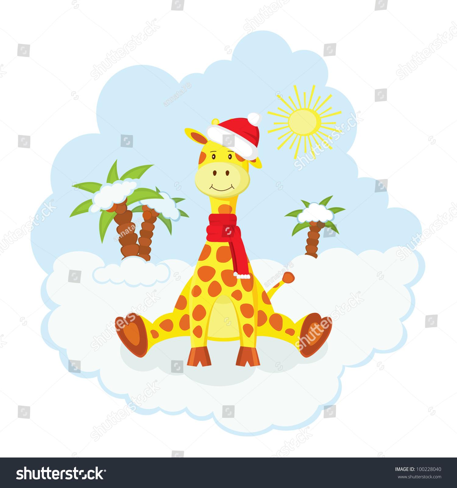 Christmas Kid Giraffe Hat Scarf Sitting Stock Vector 100228040 ...