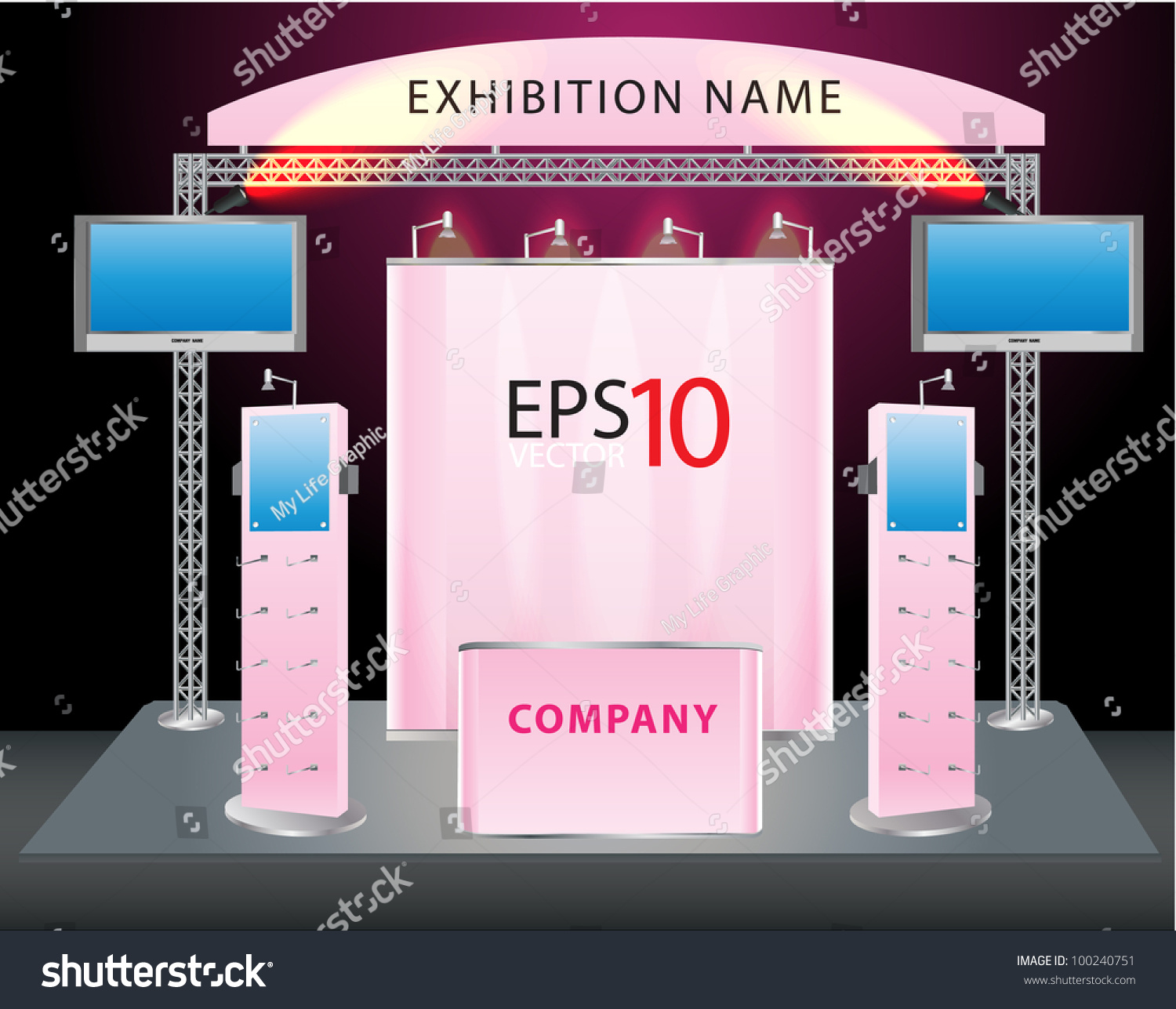 Trade Exhibition Stand Vector : Blank trade exhibition stand lcd monitor stock vector