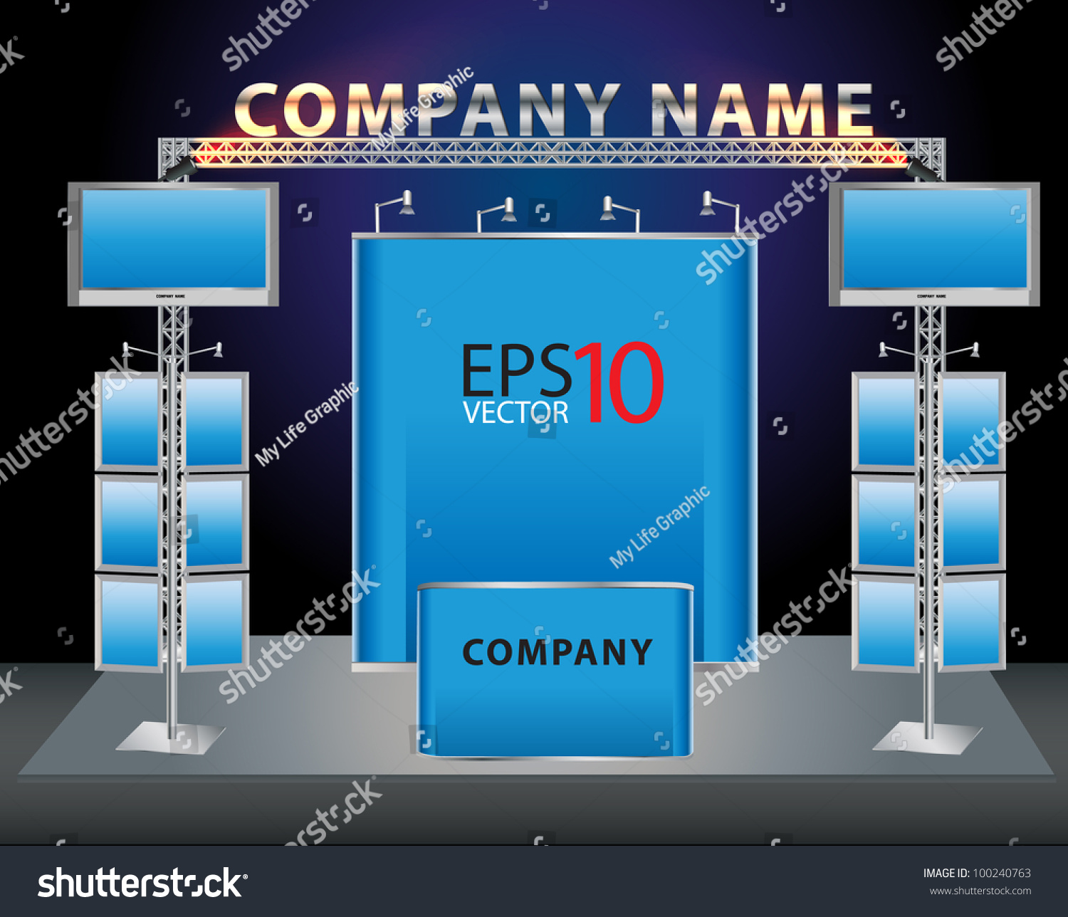 Trade Exhibition Stand Vector : Blank trade exhibition stand and lcd monitor stock vector