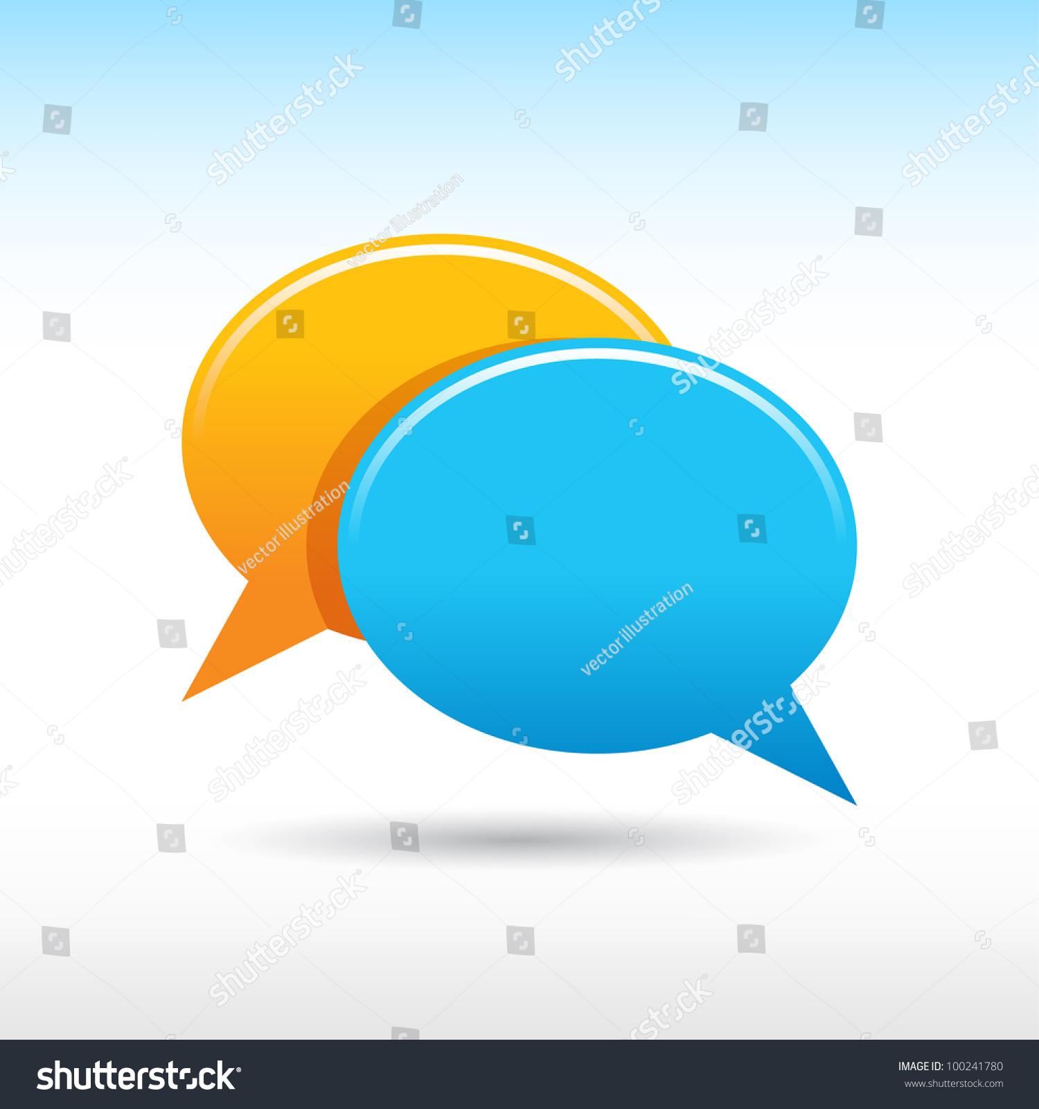Satin Blank Yellow Blue Speech Bubbles Stock Vector 100241780 ...