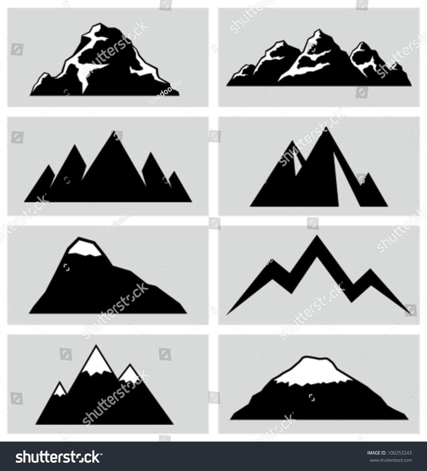 Mountain Icons Set Stock Vector 100253243 - Shutterstock