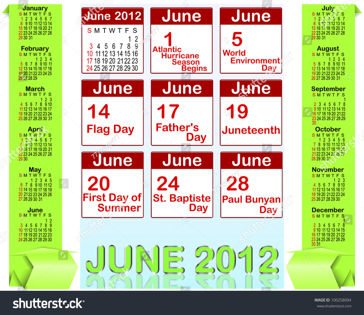 June Calendar Banner : Calendar for with origami banners and holiday icons