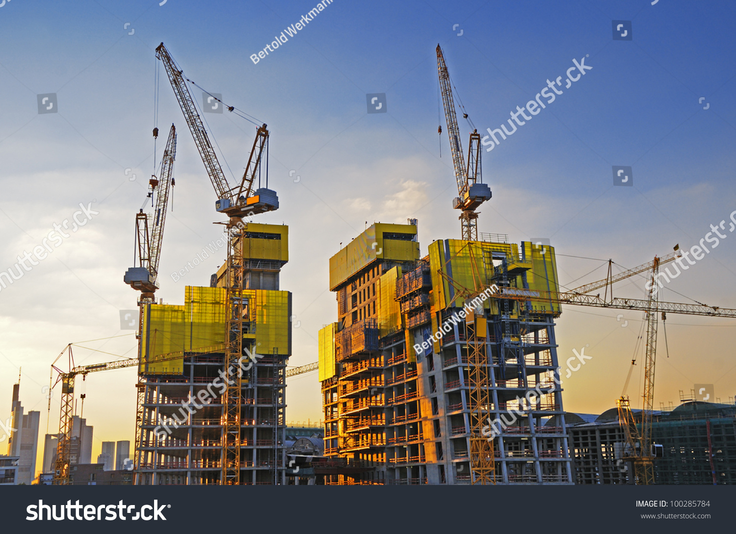 Large Construction Cranes : Big construction site stock photo